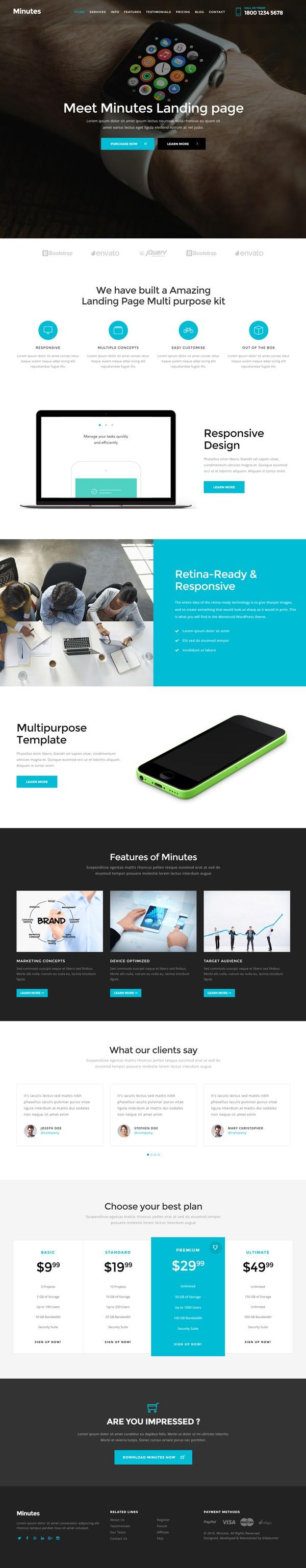 Minutes Multipurpose landing page