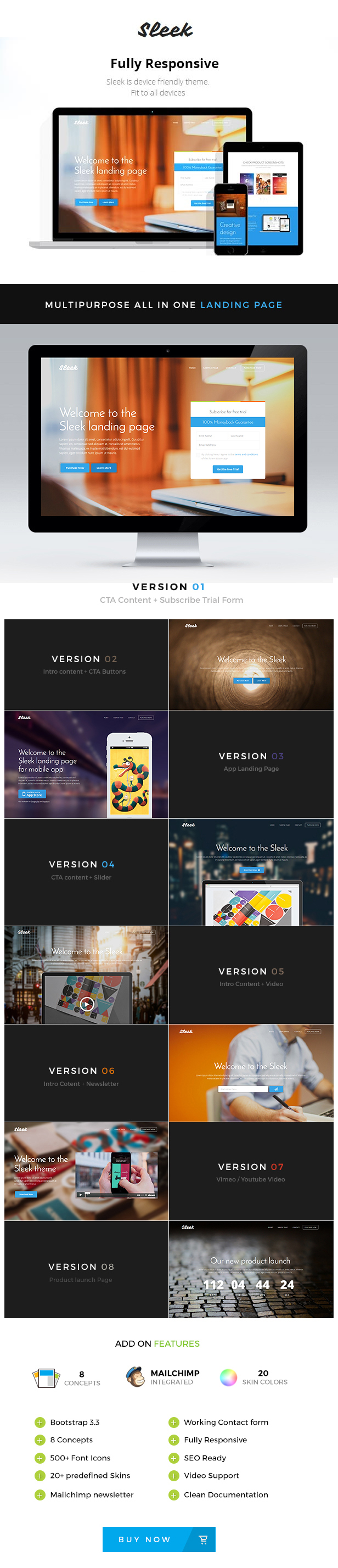 Free download Sleek with Mobirise Responsive Bootstrap Landing Page Builder
